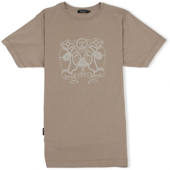 Tiw Old English God olive green t-shirt with Senlak branding on sleeve
